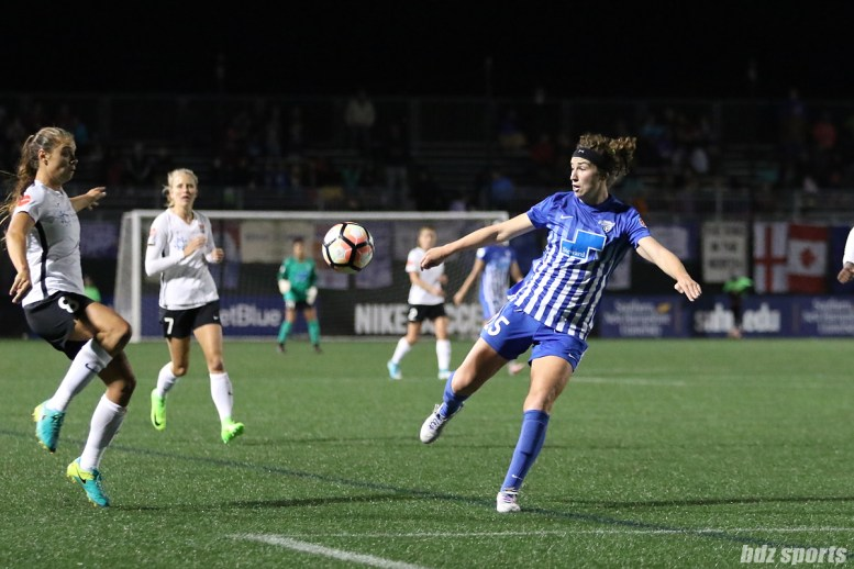 Boston Breakers midfielder Morgan Andrews (25) looks to volley the ball