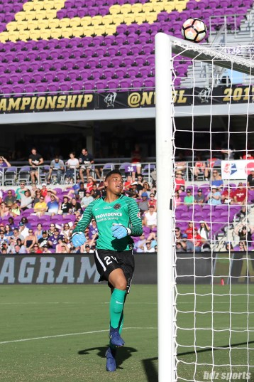 Portland Thorns FC goalkeeper Adrianna Franch (24) looks on as a chip shot on goal hits the top of the crossbar