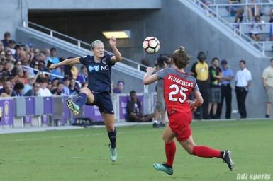 North Carolina Courage forward Kristen Hamilton (23) looks to settle a pass