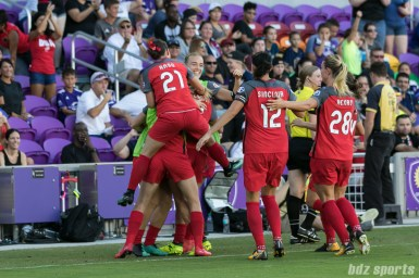 The Portland Thorns FC celebrate Lindsey Horan's goal