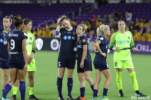 The North Carolina Courage after receiving their runner up medals