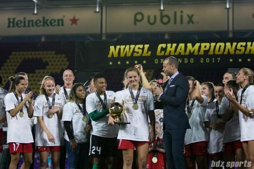 Portland Thorns FC midfielder Lindsey Horan (7) received the MVP award
