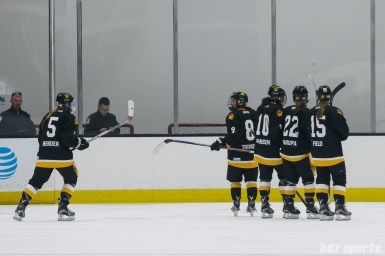 Boston Pride players Alexandra Bender (5), Dana Trivigno (8), Kaliya Johnson (10), Haley Skarupa (22), and Emily Field (15)