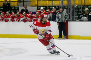 A Russian player takes her turn during the shootout