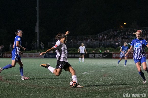 Sky Blue FC forward Sam Kerr (20) takes a shot on goal