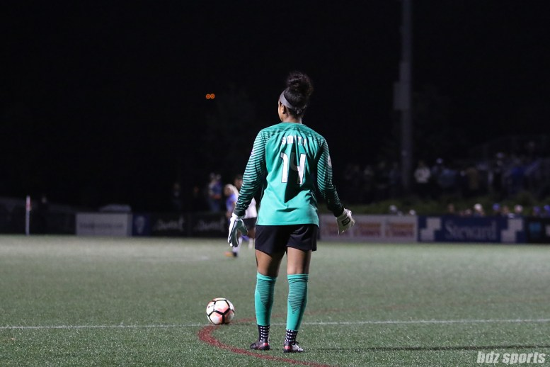 Boston Breakers goalkeeper Abby Smith (14) prepares to take a free kick