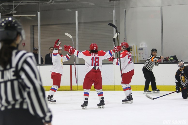 Russia celebrates their first goal of the game