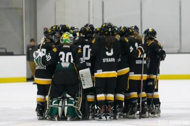 The Boston Pride huddle after their 2-1 loss to the Russian National Team