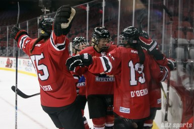 The Metropolitan Riveters celebrate forward Rebecca Russo's (18) goal in the third period