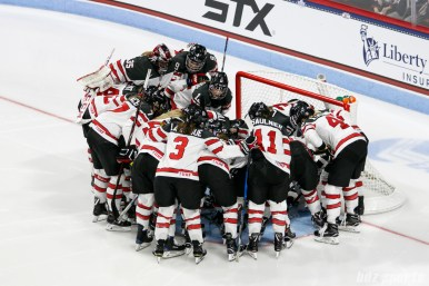 Team Canada huddles before the start of their game against team USA in the The Time Is Now Tour on October 25, 2017