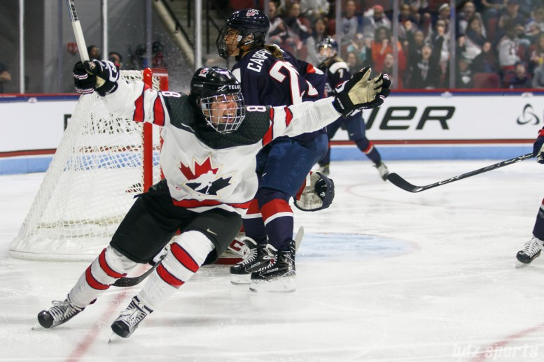 Team Canada defender Laura Fortino (8) celebrates her goal in the second period