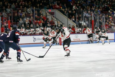 Team Canada forward Laura Stacey (7) takes a shot on goal