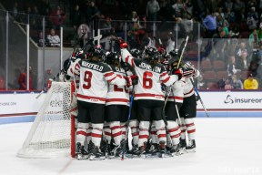 Team Canada celebrates their win over Team USA