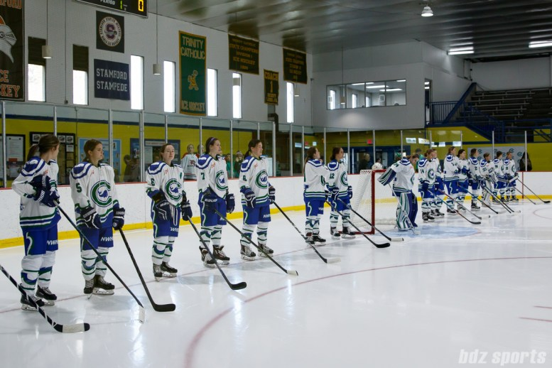 The Connecticut Whale line up at the start of the game