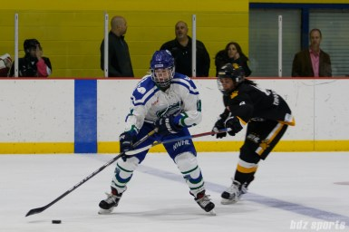 Connecticut Whale forward Emily Fluke (11) controls the puck while being defnded by Boston Pride forward Dana Trivigno (8)