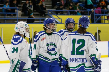 Connecticut Whale players Sydney Rossman(34), Elena Orlando (14), Juana Baribeau (25), and Jamie Goldsmith (12) wait for the restart of play