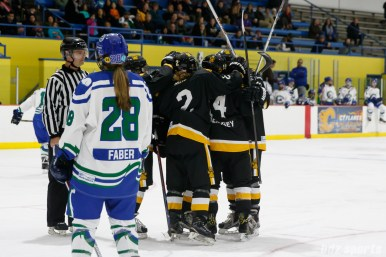 The Boston Pride celebrate Pride forward Emily Field's (15) goal