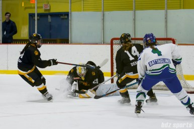 Boston Pride goalie Brittany Ott (29) covers the puck