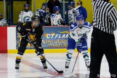 Boston Pride forward Jordan Smelker (11) lines up against Connecticut Whale forward Grace Klienbach (94)