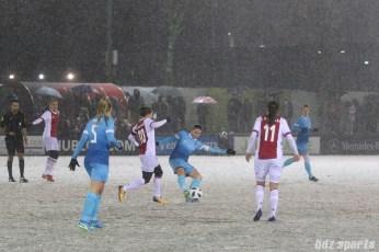 FC Twente midfielder Sherida Spitse (8) sends the ball down the field