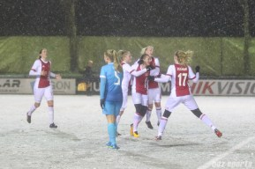 Ajax celebrates midfielder Desiree van Lunteren's (10) goal