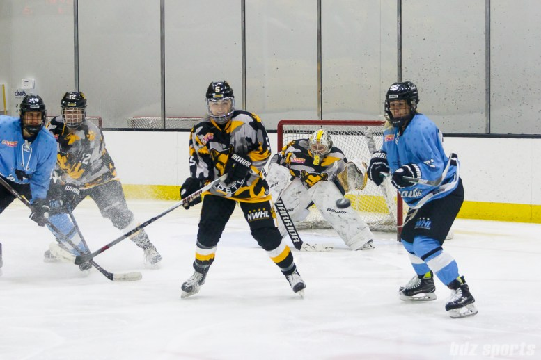 Boston Pride and Buffalo Beauts players look on as the puck pops into the air