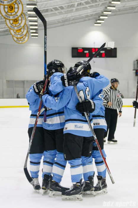 The Buffalo Beauts celebrate Buffalo Beauts forward Rebecca Vint's (12) goal in the first period