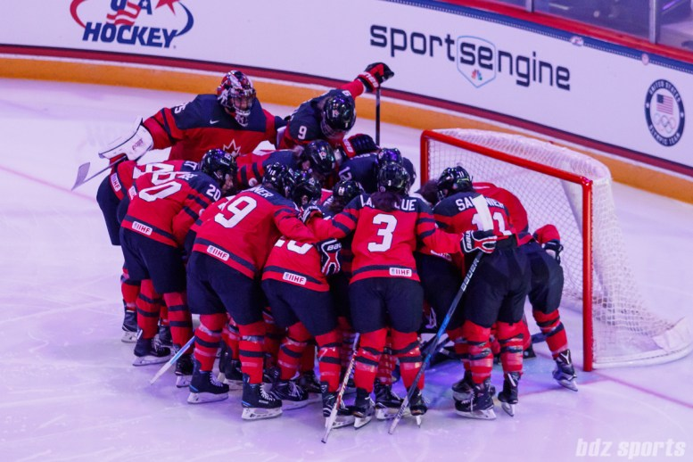 Team Canada huddles before the start of the Time is Now Tour USA vs Canada game in St. Paul, MN on December 3, 2017