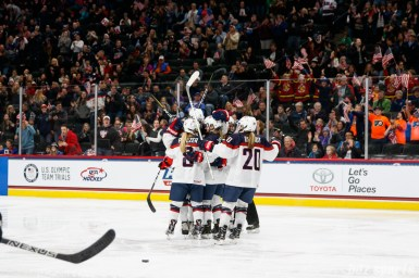 Team USA celebrates Megan Keller's (5) power play goal in the second period