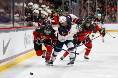 Team Canada defender Jocelyne Larocque (3) battles Team USA forward Brianna Decker (14) for the puck