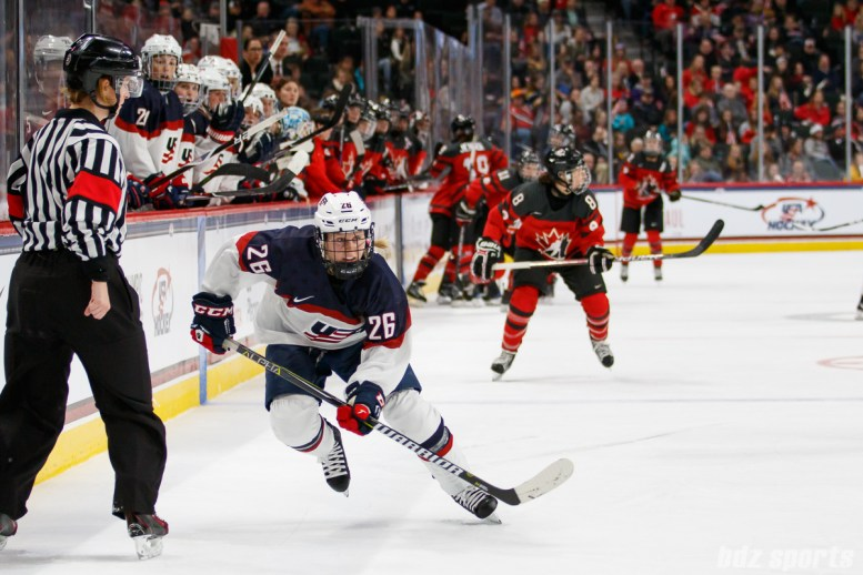 Team USA forward Kendall Coyne (26) chases down the puck