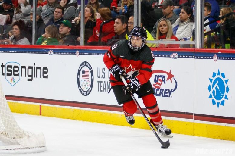 Team Canada defender Laura Fortino (8)