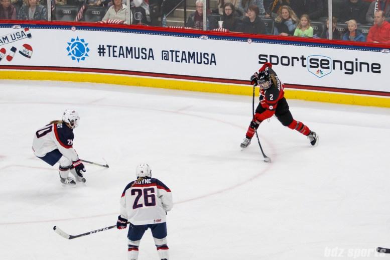 Team Canada forward Meghan Agosta (2) takes a slap shot