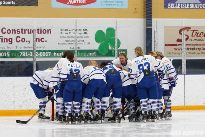 The Toronto Furies huddle before the start of the game