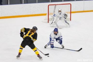 Boston Blades forward Meghan Grieves (17) looks to take on Toronto Furies forward Brooke Beazer (7)