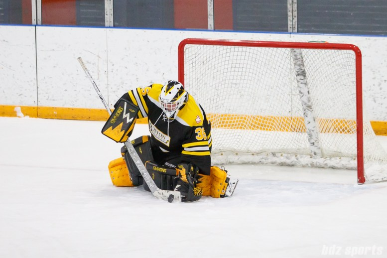 Boston Blades goalie Lauren Dahm (35) makes the stop
