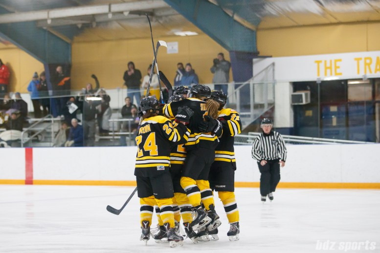 Boston Blades players celebrate the Blades' third goal of the game