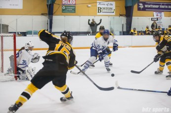 Boston Blades forward Megan Myers (15) looks to slip the puck off to teammate Kate Leary (28)