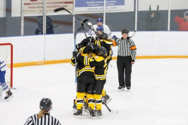 The Boston Blades celebrate their fourth goal of the game, socred by forward Kate Leary (28)