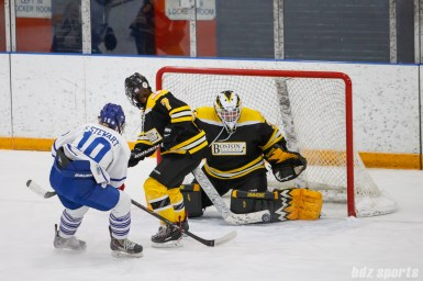 Boston Blades goalie Lauren Dahm (35) makes a save