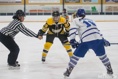 Boston Blades forward Melissa Bizzari (23) gets ready for a face off against Toronto Furies forward Alexa Aramburu (16)