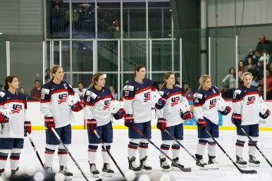Team USA take the ice for pre-game announcements