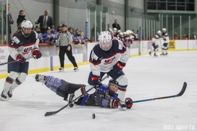 Team USA forward Jocelyne Lamoureux-Davidson (17) gets past Team NWHL defender Michelle Picard (27)