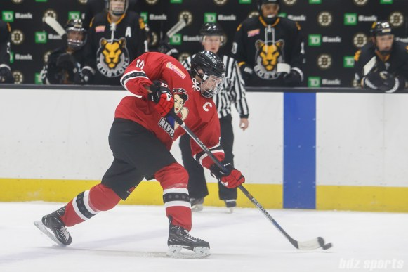 Metropolitan Riveters defender Ashley Johnston (10) takes a shot on goal