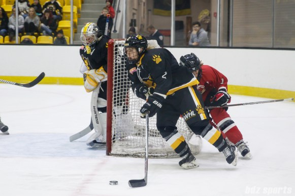 Boston Pride defender Alyssa Gagliardi (2) brings the puck out from behind the goal
