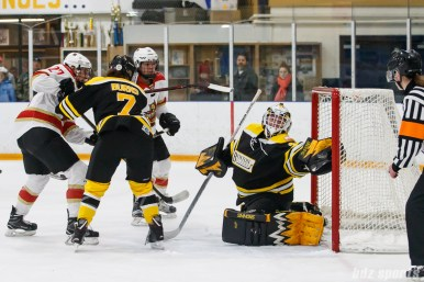 Boston Blades goalie Lauren Dahm (35) grabs the puck right at the goal line
