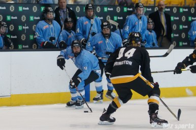 Buffalo Beauts forward Kristin Lewicki (27) brings the puck up the ice
