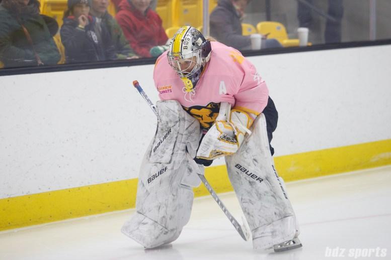 Boston Pride goalie Brittany Ott (29) preps for the start of the period