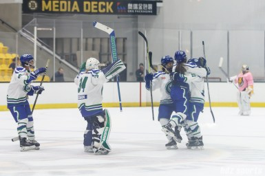 The Connecticut Whale congratulate Connecticut Whale forward Emily Fluke (11) after she scored the game-winning shootout goal