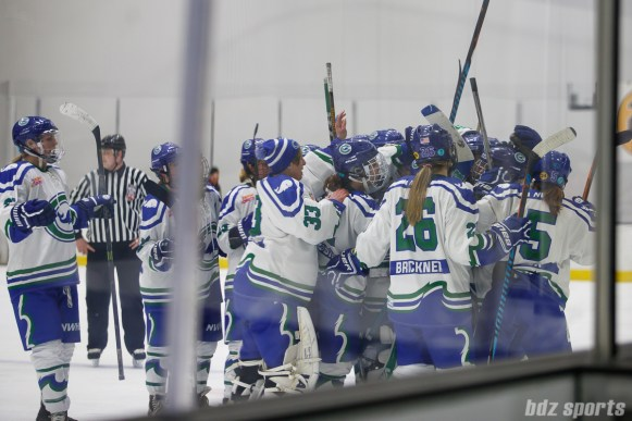The Connecticut Whale celebrate after defeating the Boston Pride 3-2 in a shootout